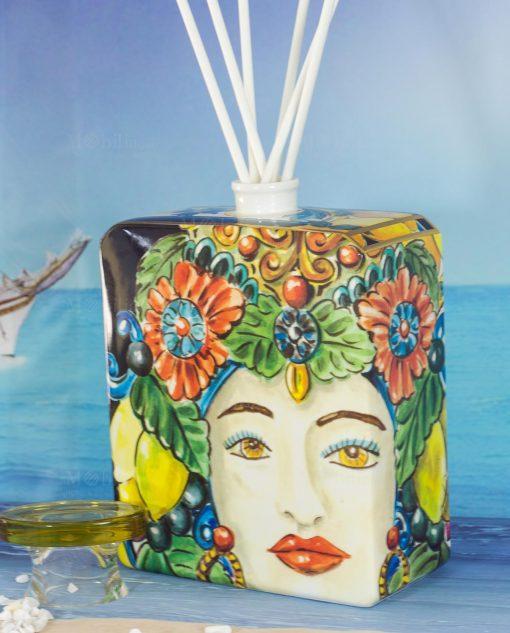 bottiglia profumatore magnum con bastoncini linea baroque and rock sicily gold baci milano