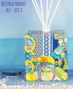 bottiglia profumatore magnum lato a bastoncini linea baroque and rock sicily blu baci milano