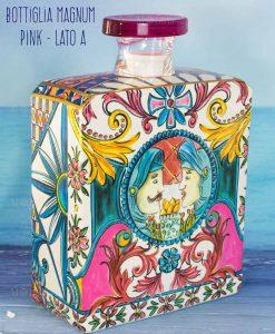 bottiglia profumatore magnum lato a linea baroque and rock sicily pink baci milano