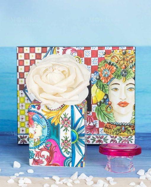 bottiglia profumatore midi 240 ml con scatola e fiore linea baroque and rock sicily pink baci milano