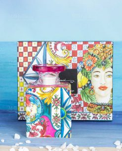 bottiglia profumatore midi 240 ml con scatola linea baroque and rock sicily pink baci milano