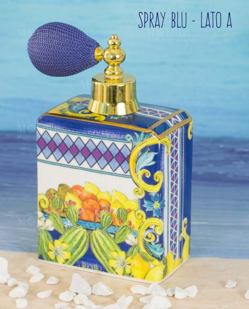 bottiglia profumo spray lato a linea baroque and rock sicily blu baci milano