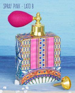 bottiglia profumo spray lato b linea aborque and rock sicily pink baci milano