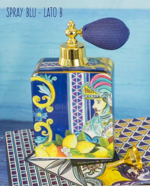 bottiglia profumo spray lato b linea baroque and rock sicily blu baci milano