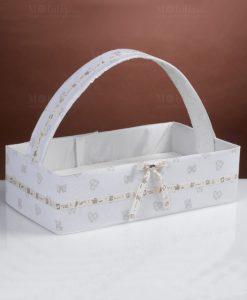 cesta porta bomboniere rettangolare con manico stampa fiocchi e cuori con fiocco linea yoghi cherry and peach
