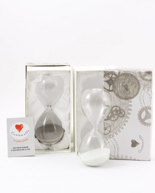 clessidra vetro con sabbia bianca e grigia con scatola imbottita cuore matto