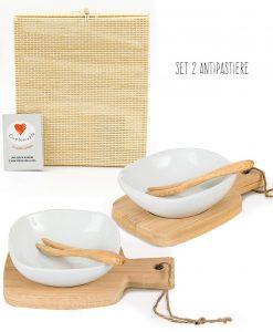 coppia antipastiere base bamboo scatola cuore mattoo