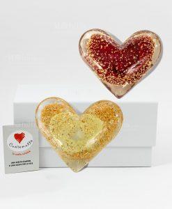 cuore damore luminescente vetro rosso e giallo cuore matto