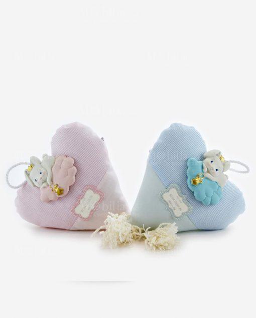 cuore rosa e azzurro con applicazione coniglietto su nuvola linea petit lapin rdm design