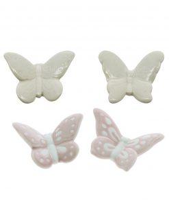 farfalla bianca e farfalla rosa modelli assoriti porcellana