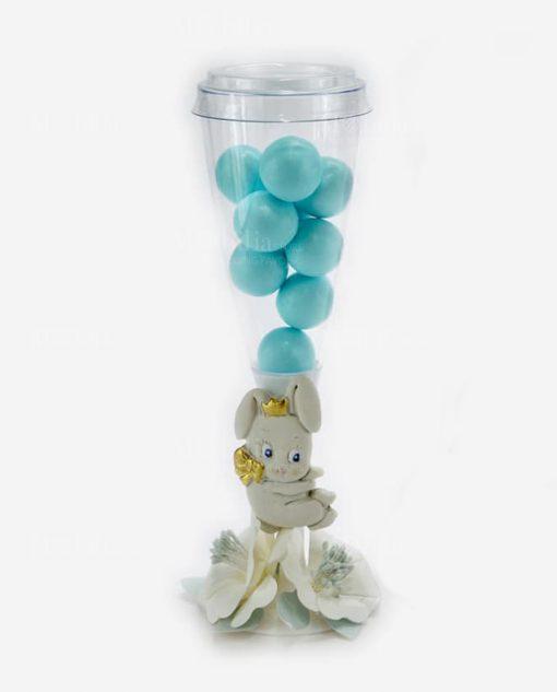 flute portaconfetti con confetti azzurri con applicazione coniglietto linea petit lapin rdm design