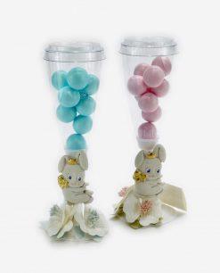 flute portaconfetti con confetti azzurri e rosa con applicazione coniglietto linea petit lapin rdm design