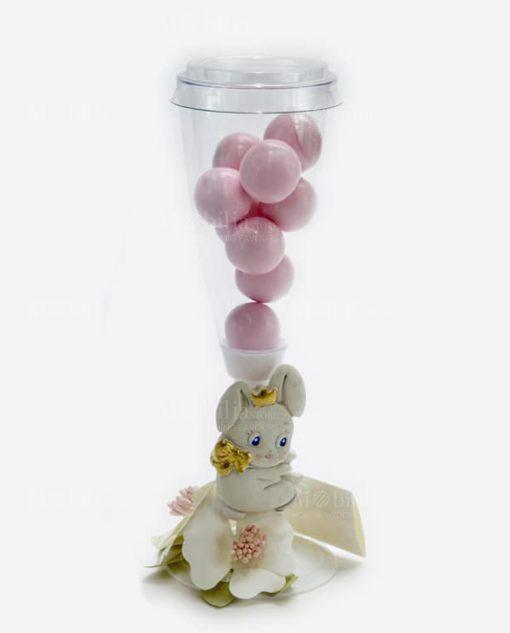 flute portaconfetti con confetti rosa con applicazione coniglietto linea petit lapin rdm design