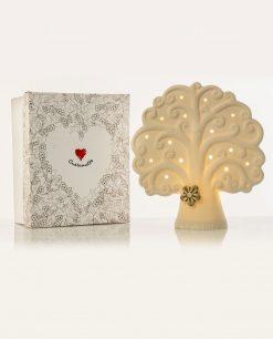 lampada led bianca albero della vita con fiorellino tortora grande cuore matto
