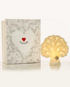 lampada led bianca albero della vita con fiorellino tortora piccola cuore matto