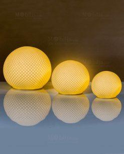 lampada led palla con motivo rombi a rilievo varie misure cuore matto