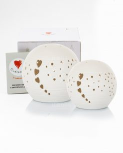 lampada led sfera bianca piccola e grande con cuoricini con scatola cuorematto