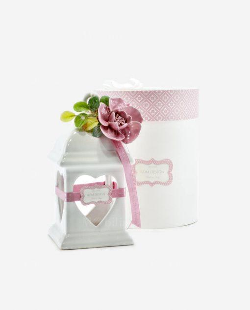 lanterna led porcellana con foro cuore linea blush rdm design