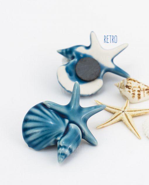 magnete calamita blu tema mare conchiglie e stella marina avanti e retro