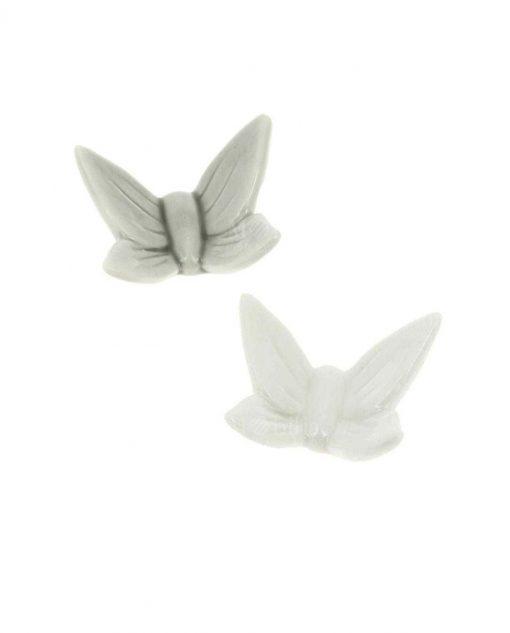 magnete calamita farfalla porcellana bianca e farfalla porcellana grigia