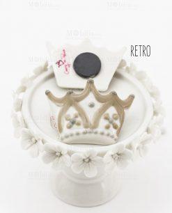 magnete calamita porcellana corona bianca e beige con fiori avanti e retro cherry and peach