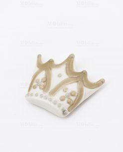 magnete calamita porcellana corona bianca e beige con fiori cherry and peach