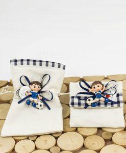 magnete calcetto su sacchetto rettangolare e su sacchetto portaconfetti bustina cuore matto
