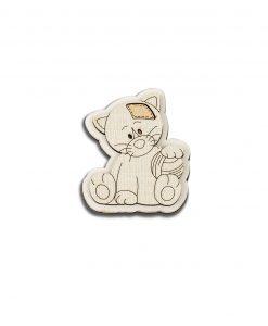 magnete legno gattino con palla cuorematto