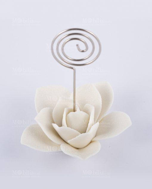 memoclip con rosa bianca