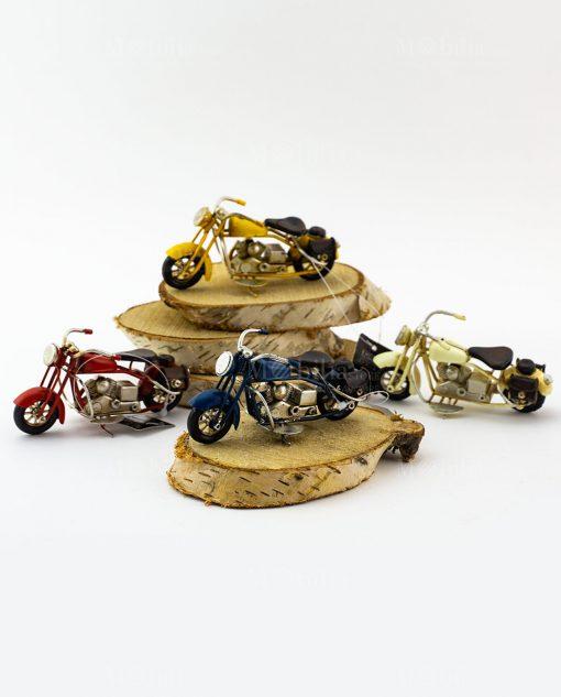 modellino piccolo moto da collezione blu giallo avorio e rosso