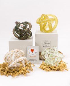 nodo damore piccolo vetro luminescente 4 colori assortiti con scatola e certificato cuore matto
