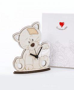 orologio legno gattino con palla cuorematto