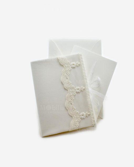 partecipazione nozze bianco con merletto rdm design