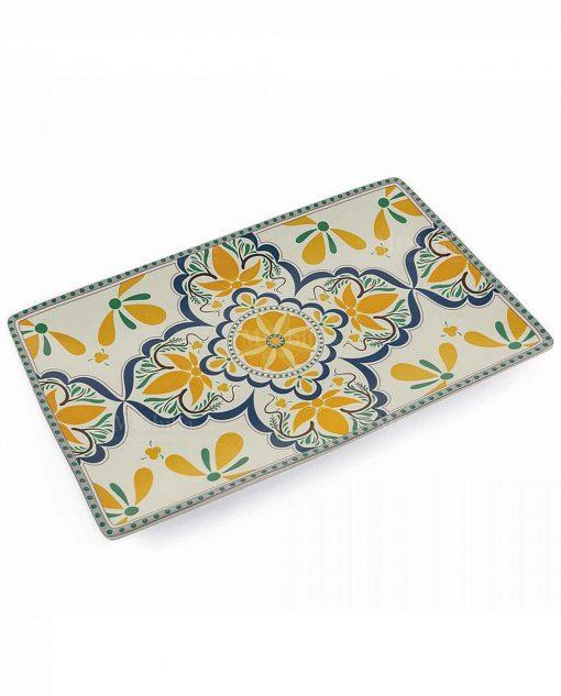 piatto da portata rettangolare blu e giallo collezione sicilia villa deste
