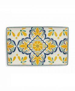 piatto da portata rettangolare giallo e blu collezione sicilia villa deste
