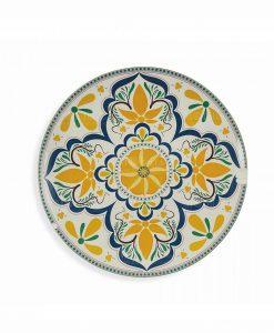 piatto da portata tondo giallo e blu collezione sicilia villa deste
