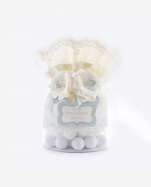 pochette grande portaconfetto con rete sul fondo con merletto e fiori linea sweet memory rdm design
