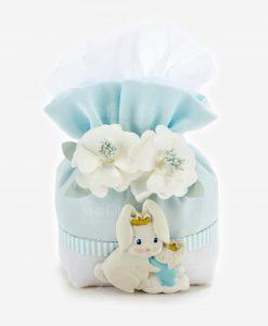 pochette portaconfetti azzurra con applicazione coniglietto bianco olinea petit lapin rdm design