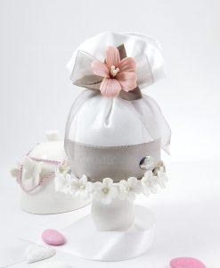 pochette portaconfetti bianco e tortora con fiore rosa ceramica linea penelope cherry and peach