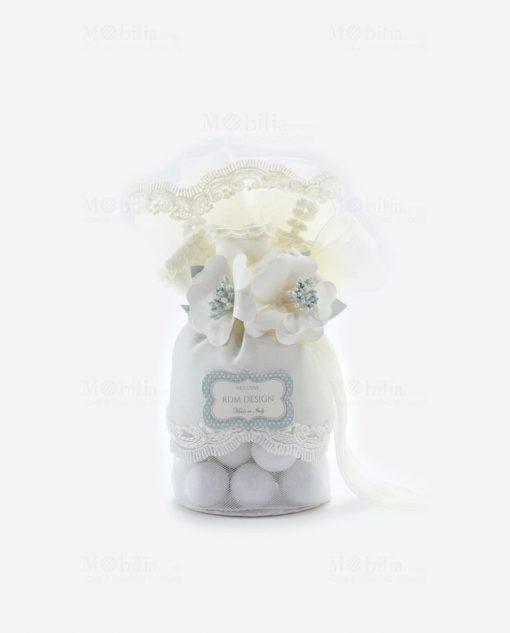 pochette portaconfetti con fiori e merletto linea sweet memory rdm design