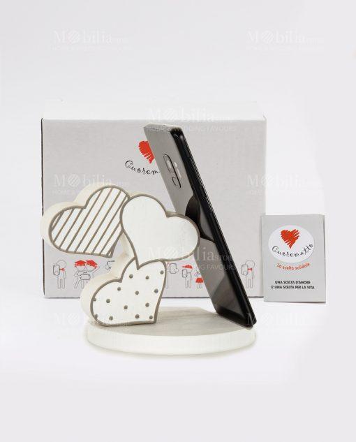 poggia telefono bianco e grigio cuori legno con scatola cuore matto