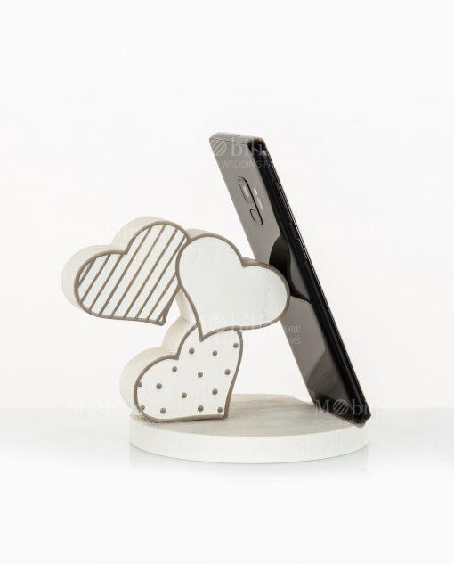 poggia telefono cuoricini bianco e grigio legno cuore matto