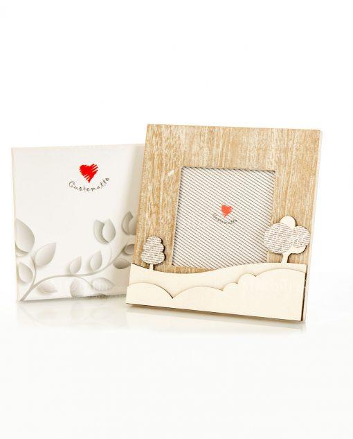 portafoto legno con alberelli 16x16 linea mago di oz cuore matto