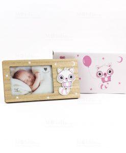 portafoto rettangolare bimba con applicazione poldina rosa con scatola cuorematto