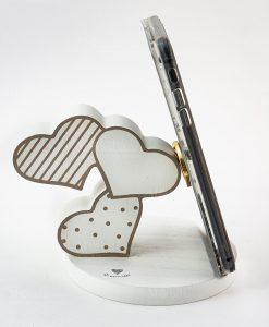 portatelefono con cuori pois e righe bianco cuorematto