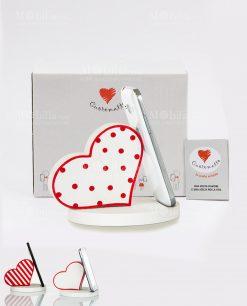 portatelefono cuore con pois a righe e bianco con bordo rosso assortiti cuore matto