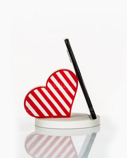 portatelefono cuore legno a righe bianco e rosso cuore matto