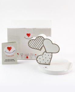 portatelefono cuori a righe e pois bianchi con scatola e certificato cuorematto