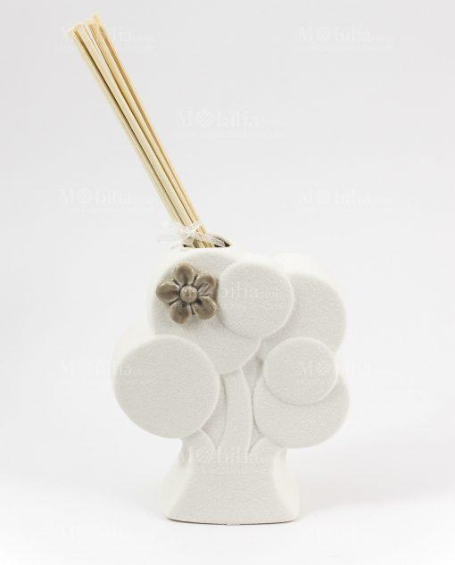 profumatore albero bianco con fiorellino tortora cuore matto