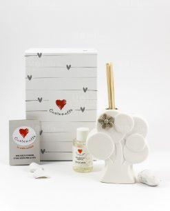 profumatore albero con fiore scatola fragranza e bastoncini cuore matto